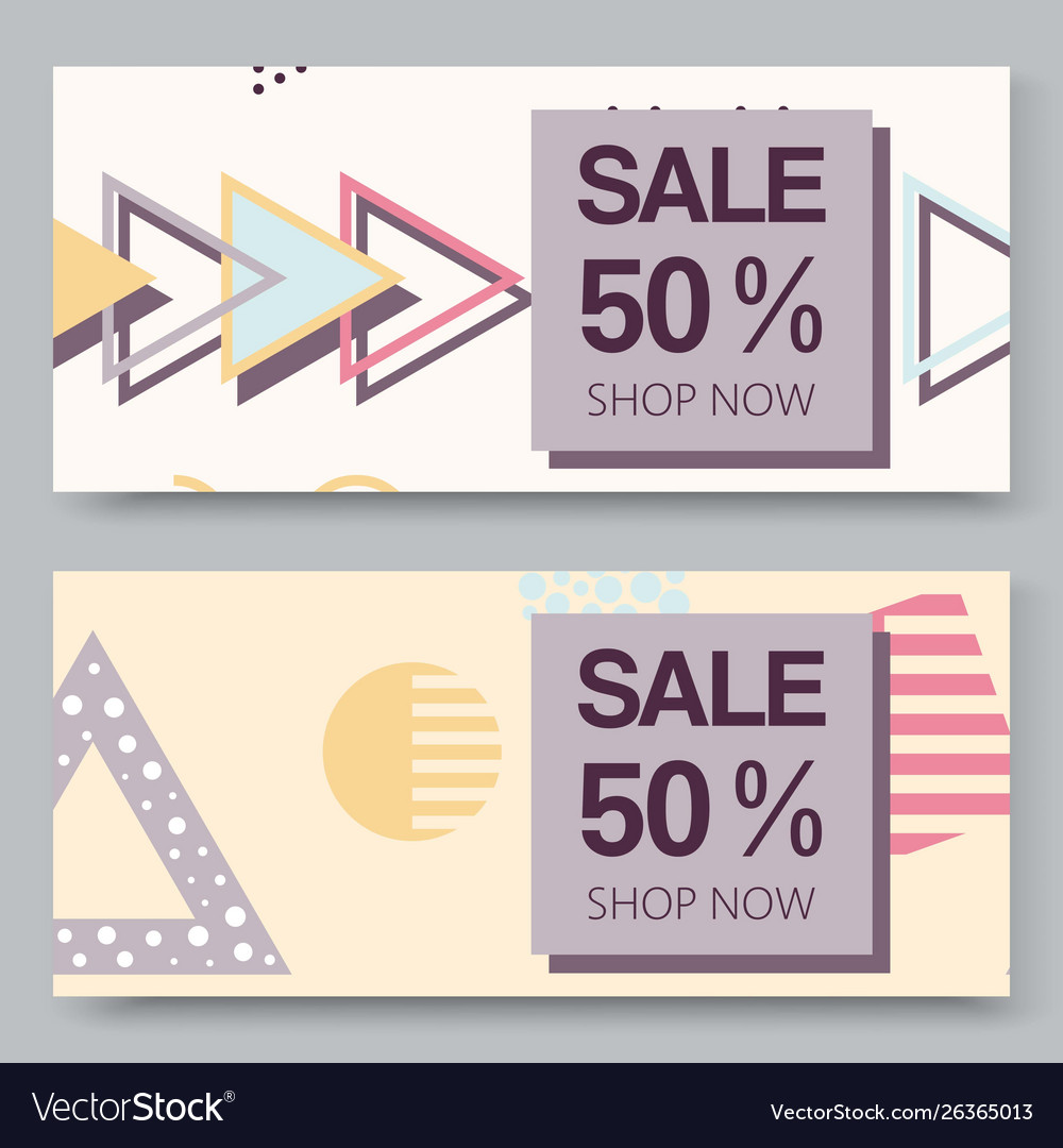 Sale banner with halftone geometric shapes