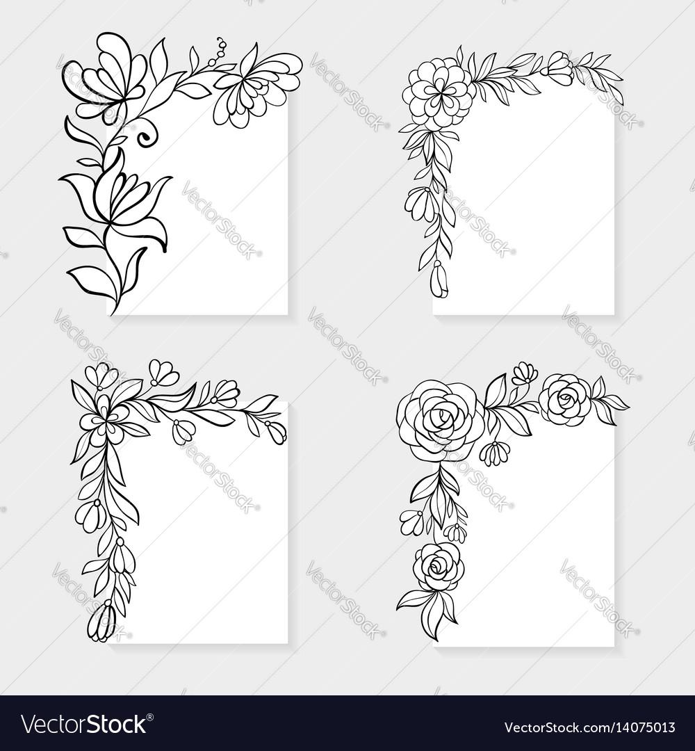 Set black and white hand drawn corner floral