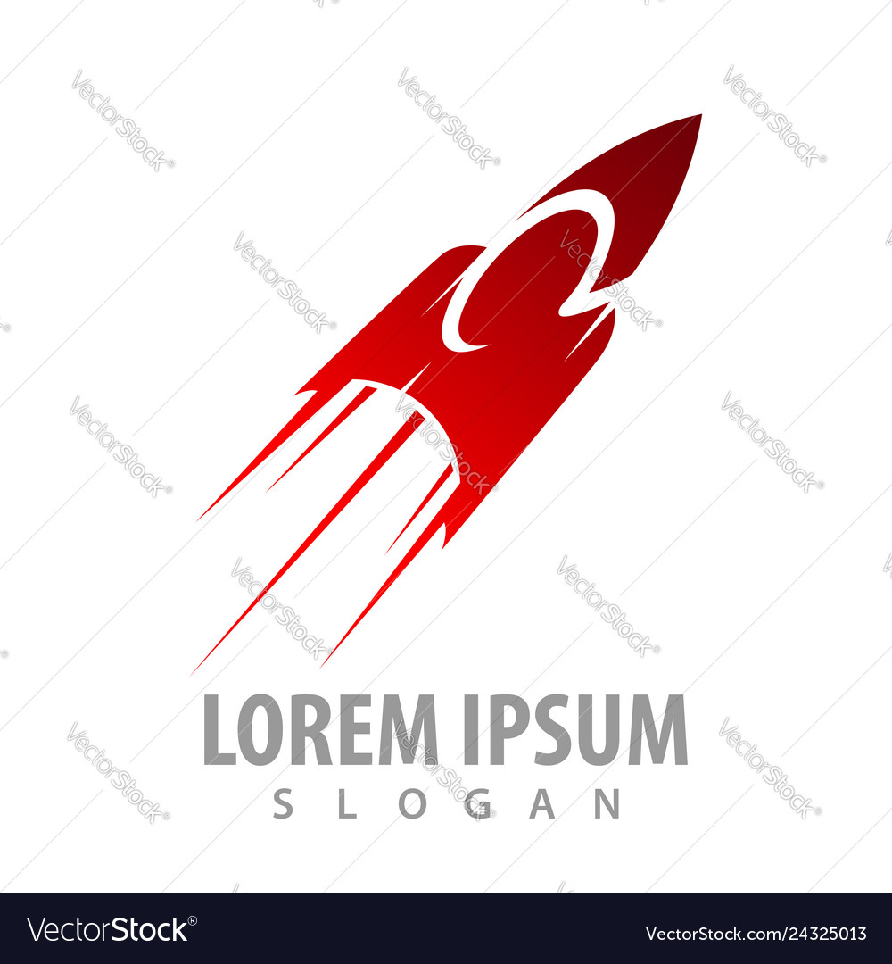 Speeding red rocket concept design symbol graphic