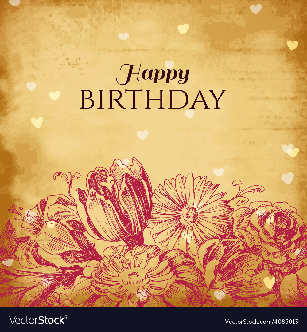Vintage Floral Background Birthday Card Royalty Free Vector