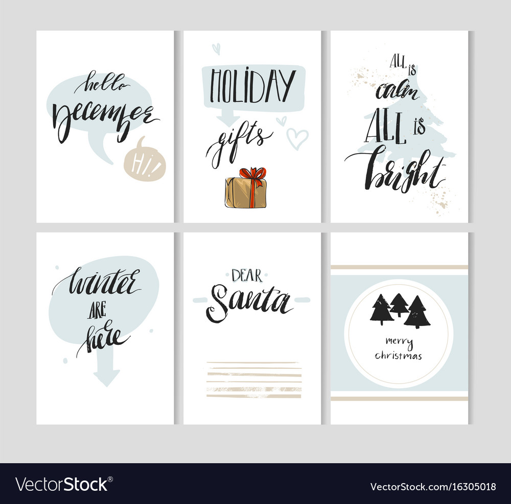 Hand made abstract merry christmas simple vector image