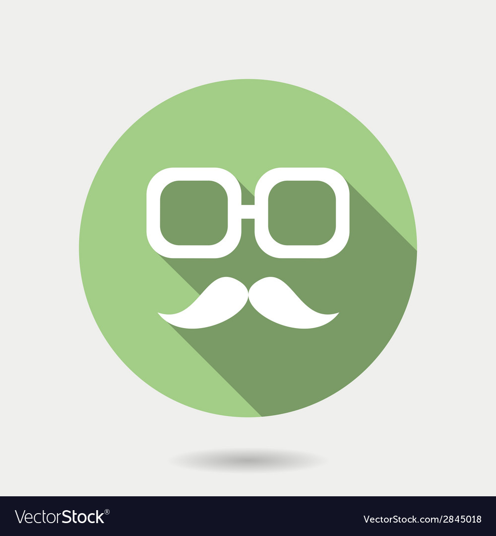 Hipster icon with long shadow hipster moustaches
