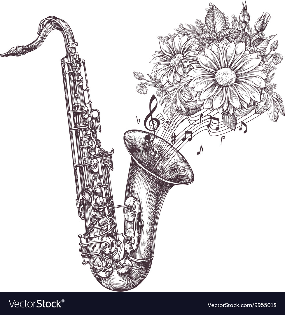 Jazz music Hand-drawn sketch a saxophone sax and
