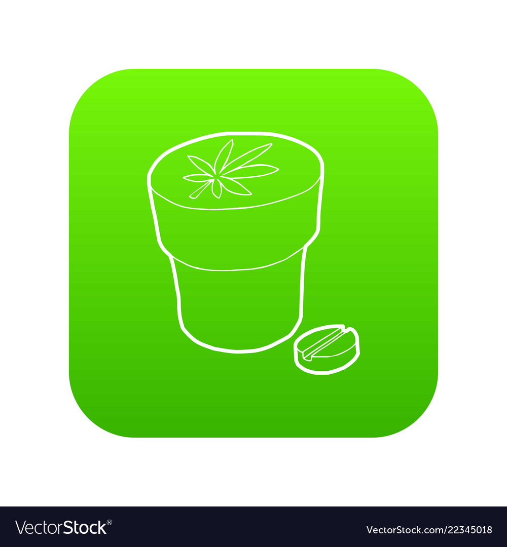 Medical marijuana bottle and tablet icon green