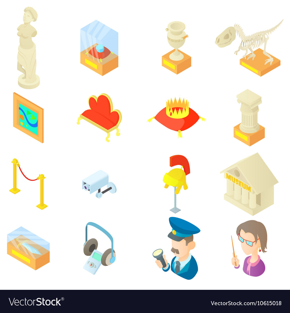 Museum icons set in cartoon style vector image