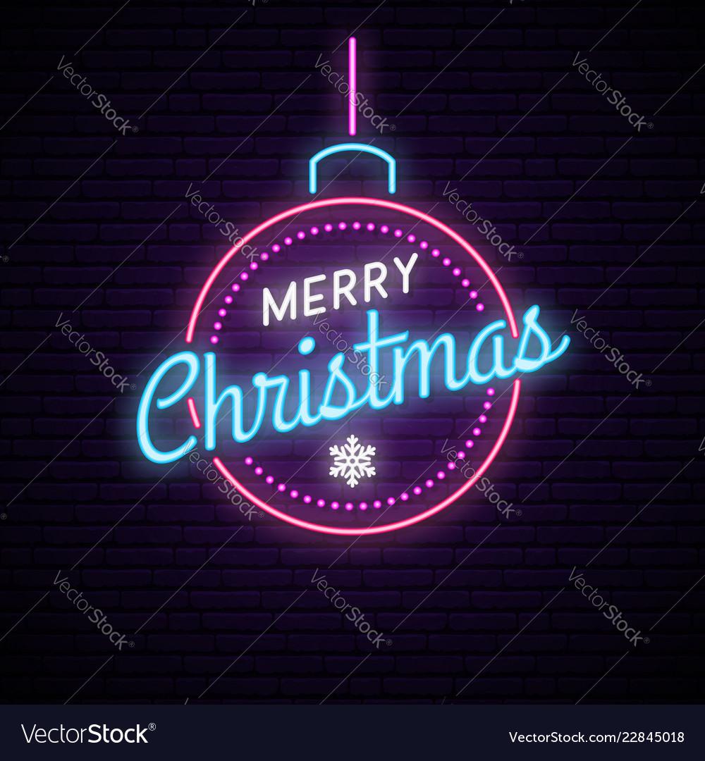 Neon ball with inscription merry christmas shiny