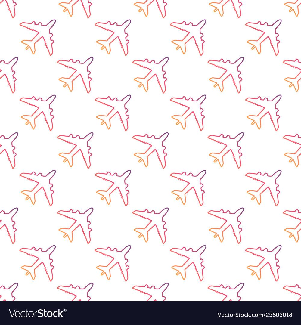 Plane line icon seamless pattern