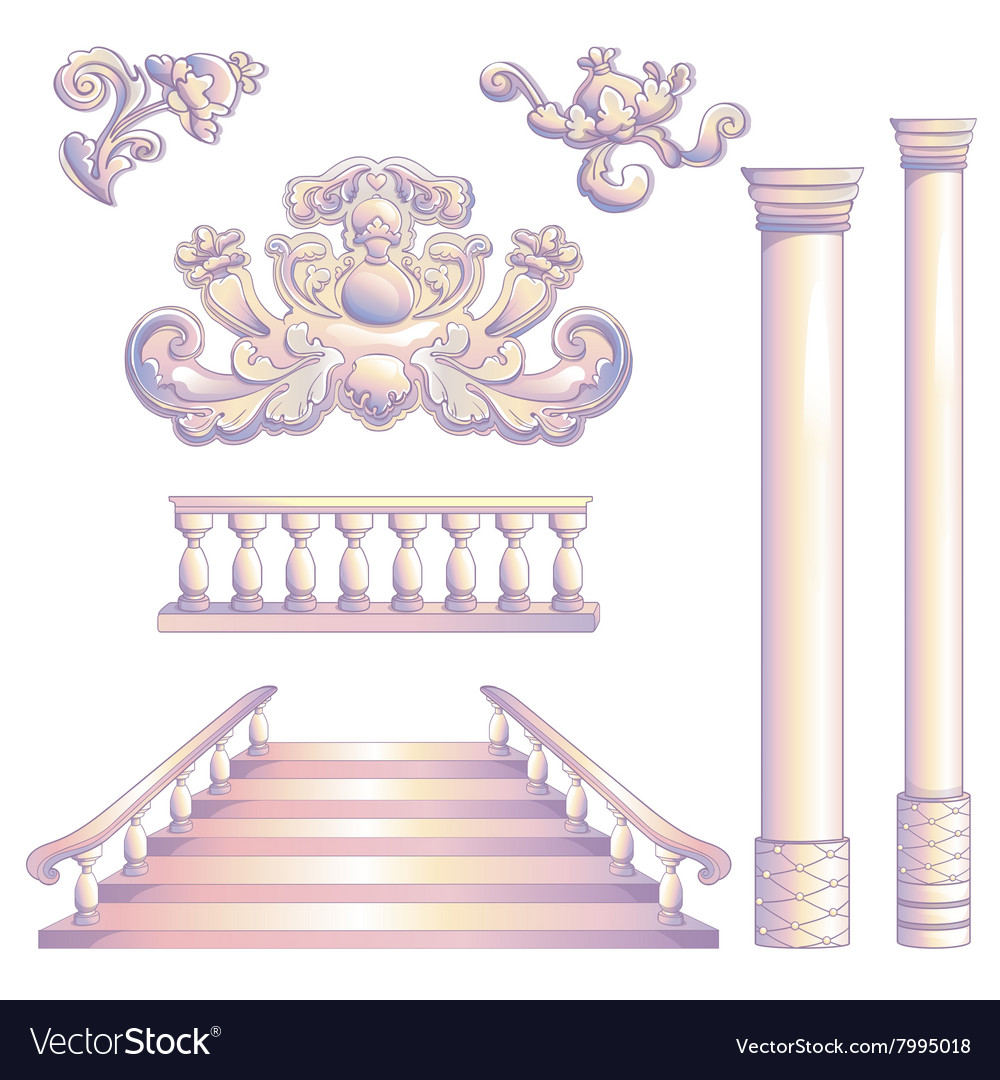 Set Of Column And Stairway