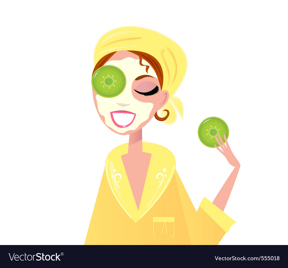 Skin care girl having spa facial mask