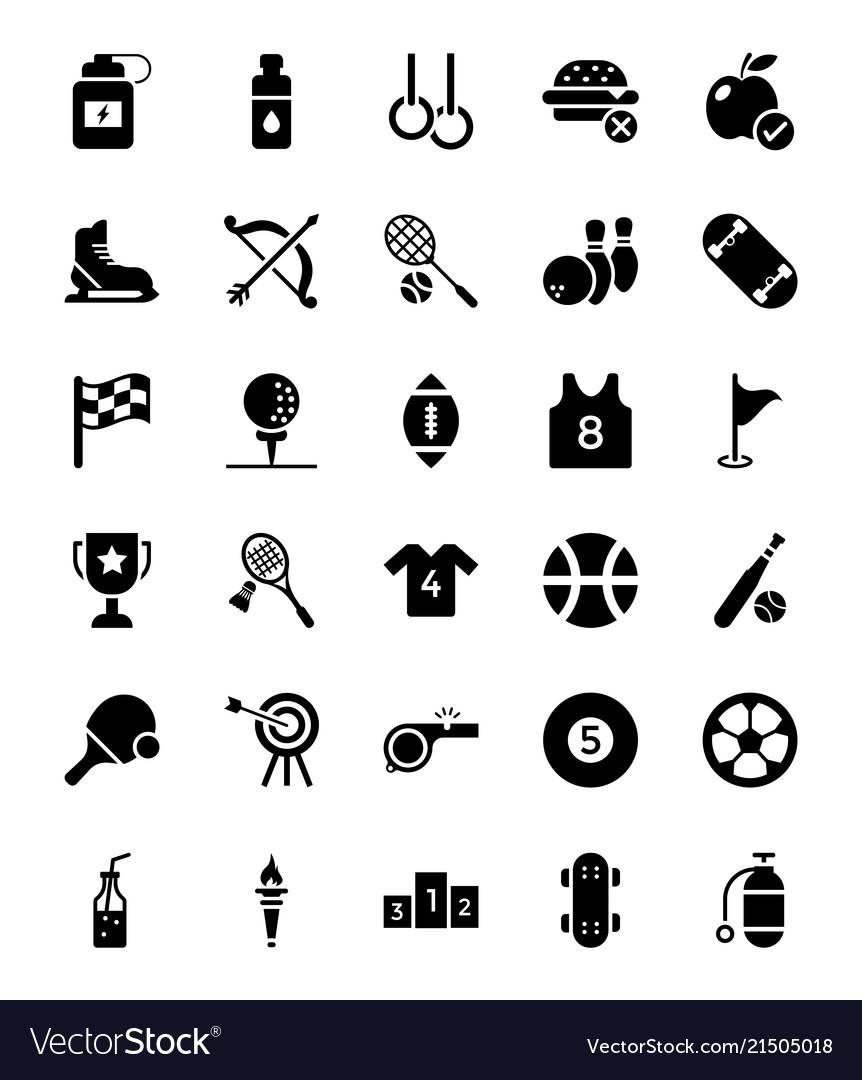 Sports glyph icons set