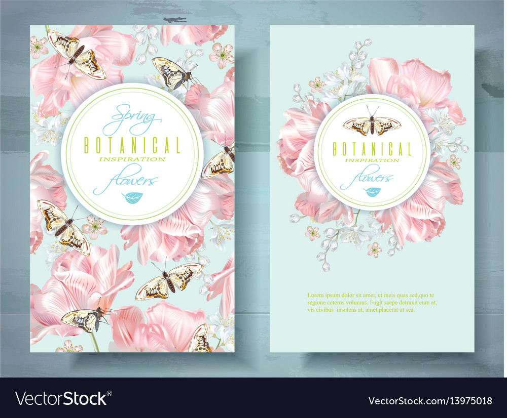 Spring flower banners vector image