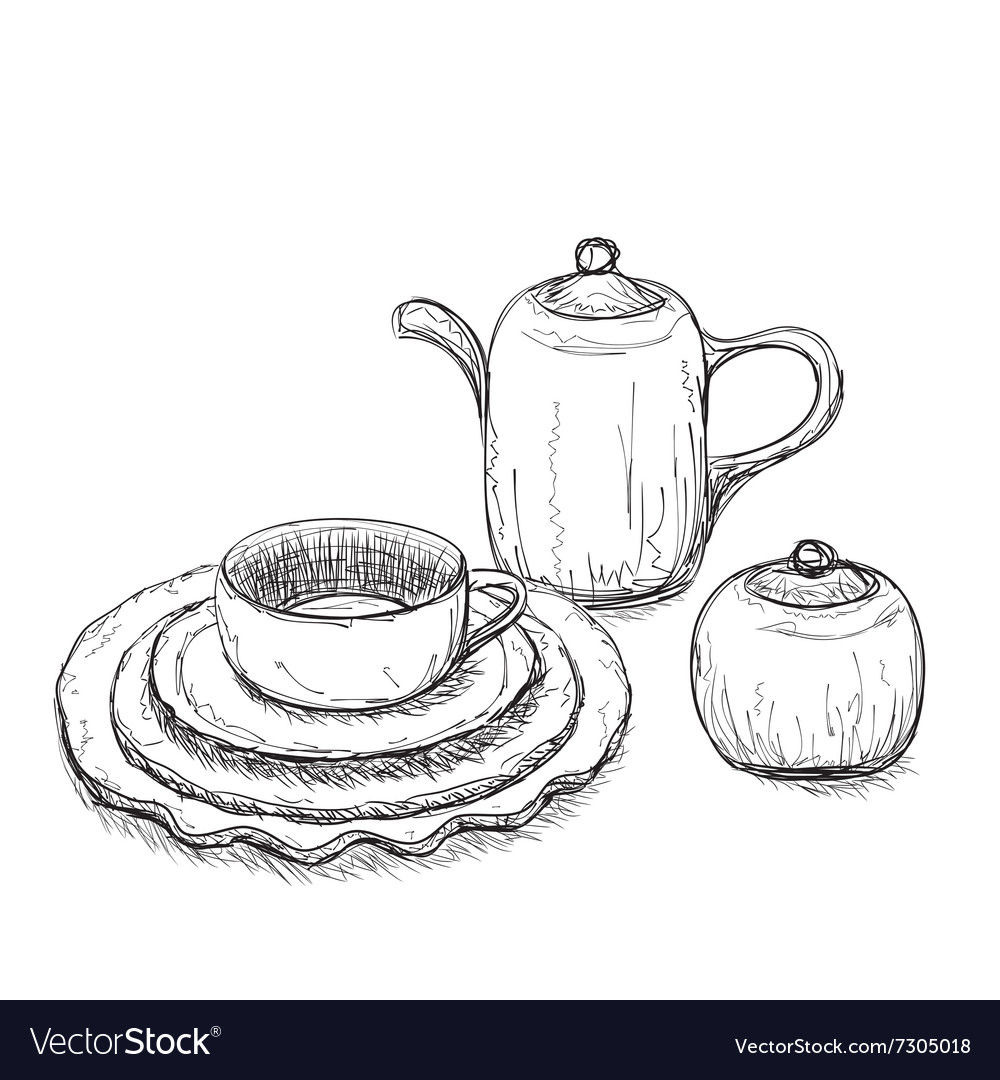 Tea time set with dishes