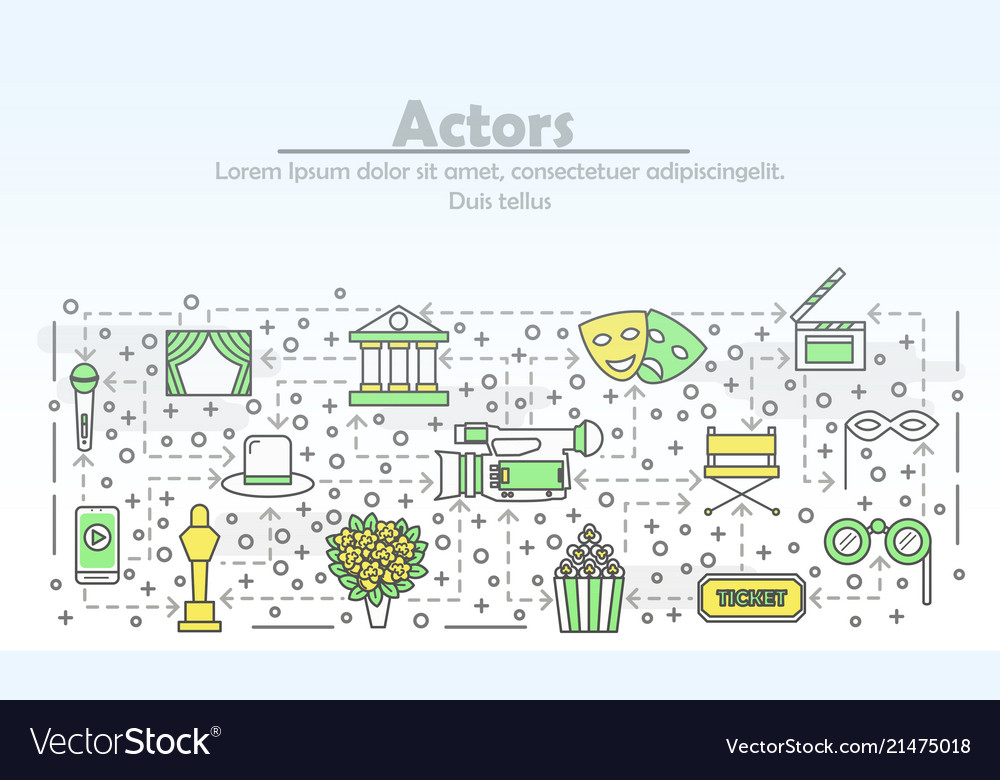 Thin line art actors poster banner template