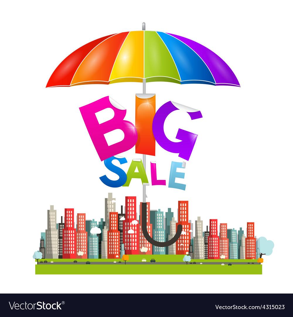 Big Sale Title With Colorful Parasol Umbrella Vector Image