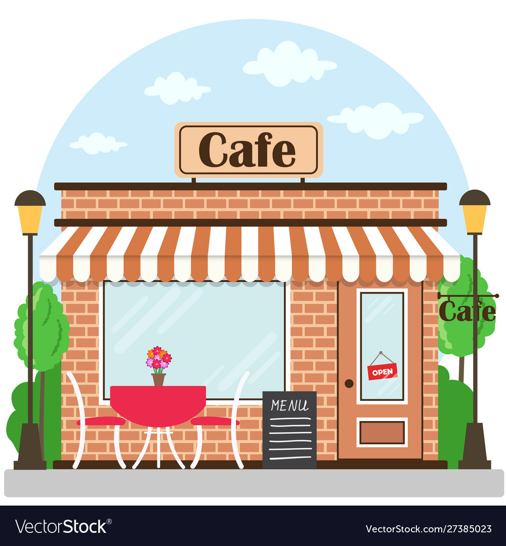 Cafe building facade with signboard flat style