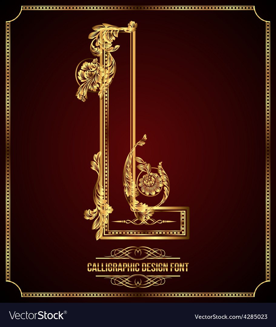 Calligraphic font Letter L vector image