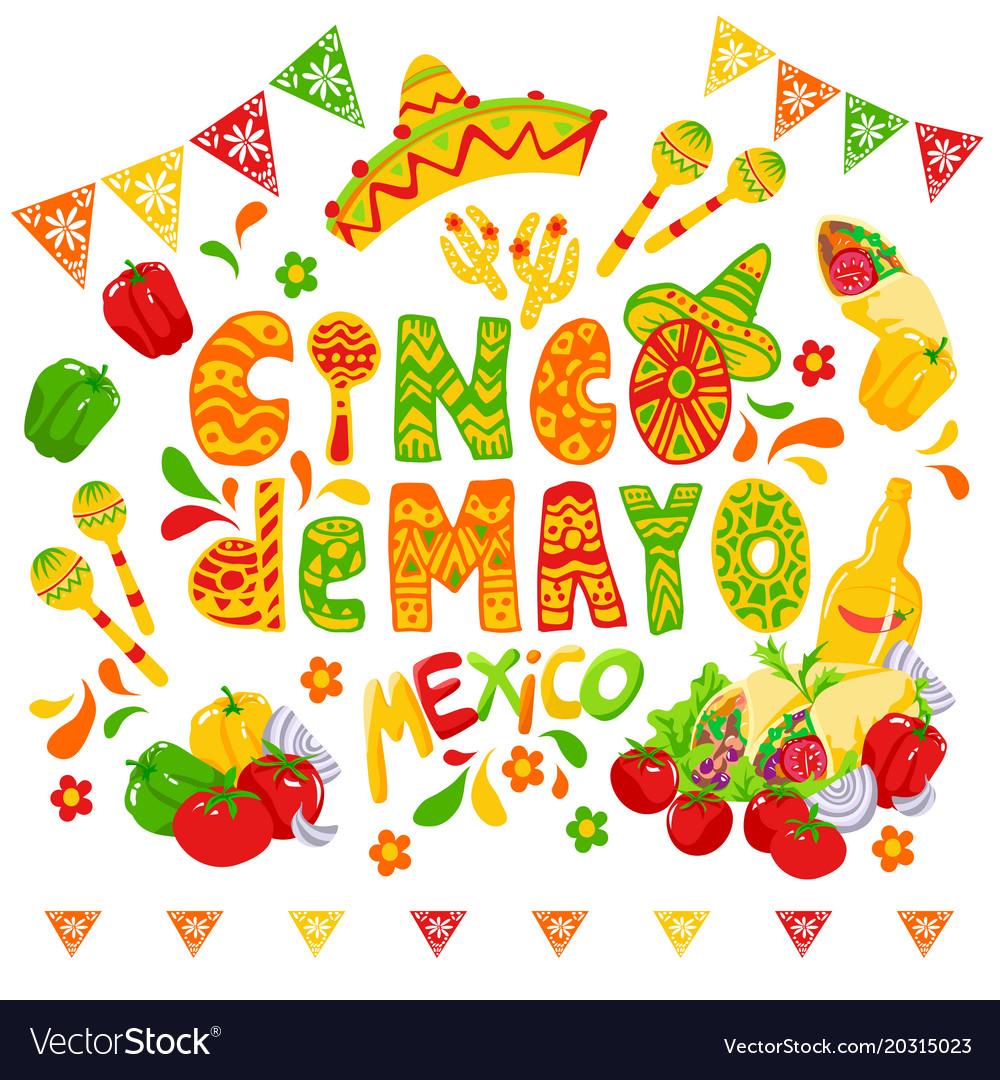 Cinco de mayo celebration festive clipart