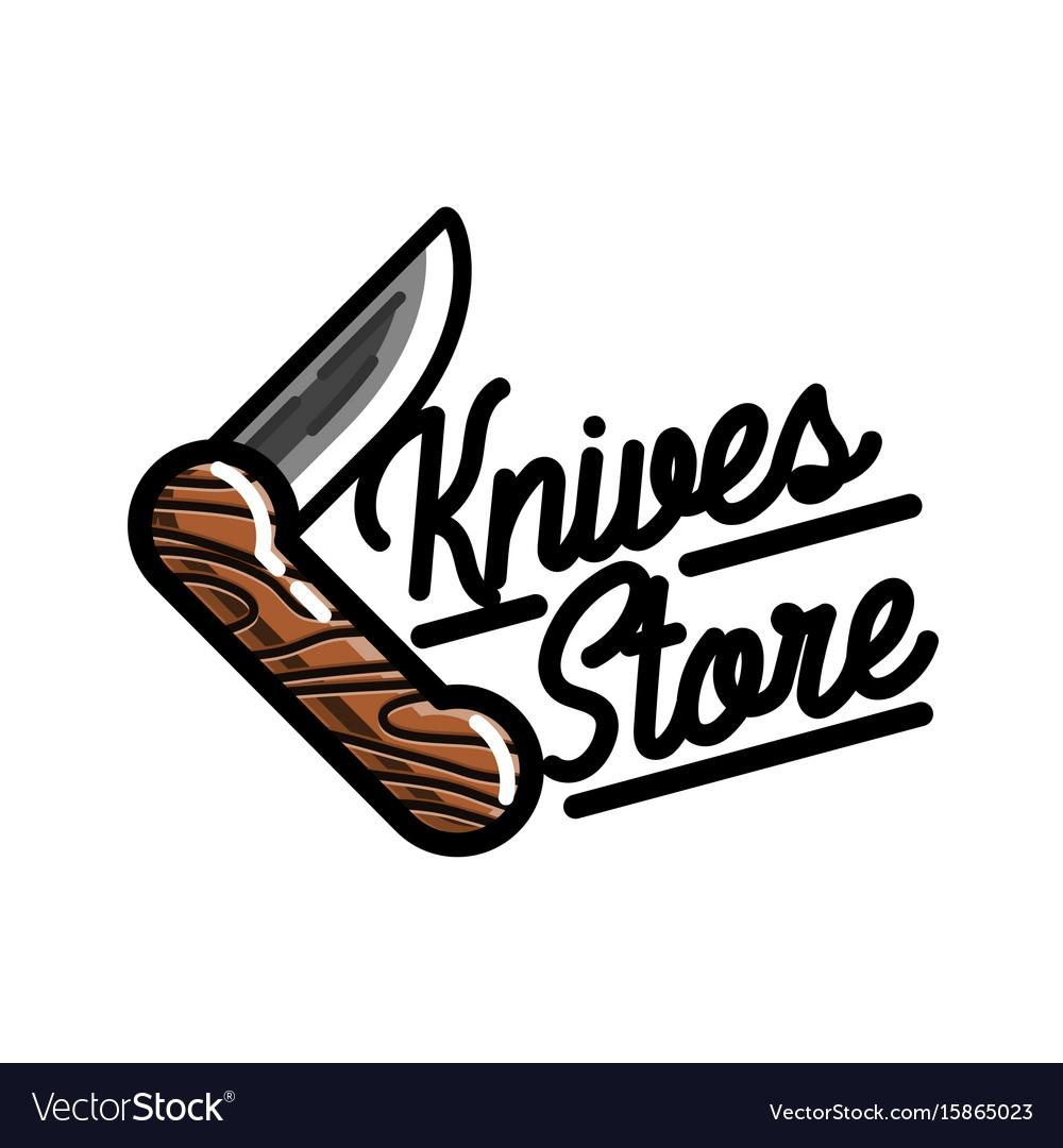 Color vintage knives store emblem