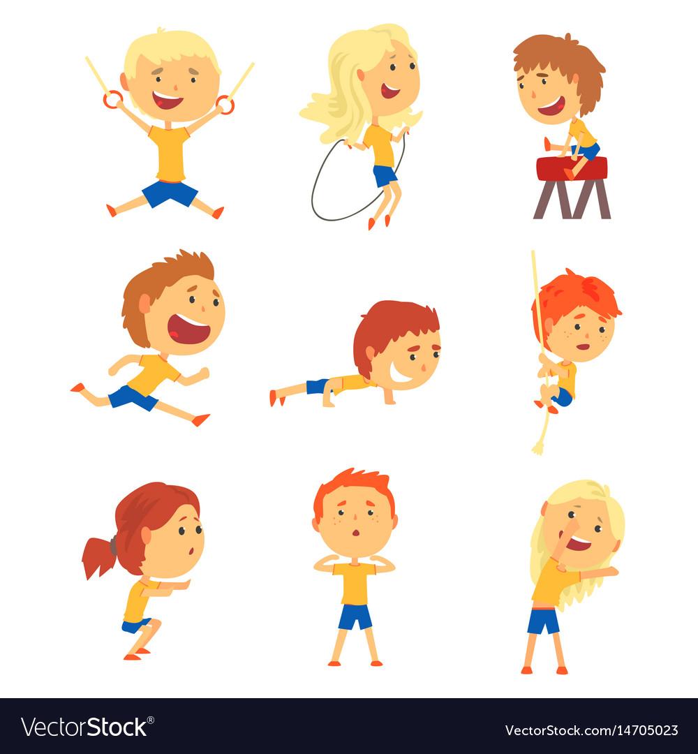 Cute smiling kids doing sports set activity kids vector image