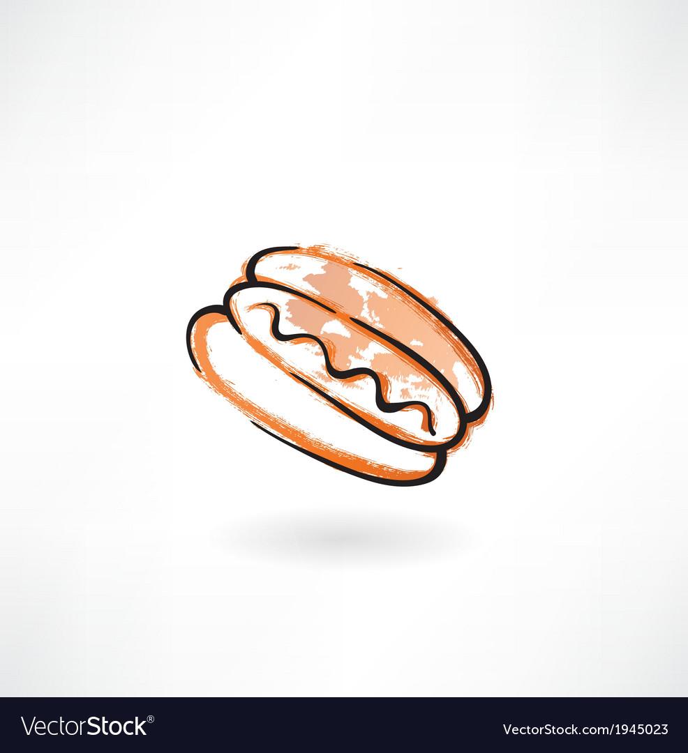 Hot dog grunge icon