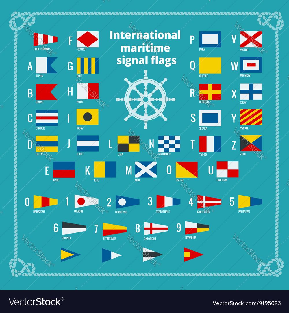 International maritime signal flags Sea alphabet vector image