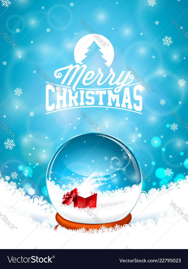 Merry christmas with snow globe and