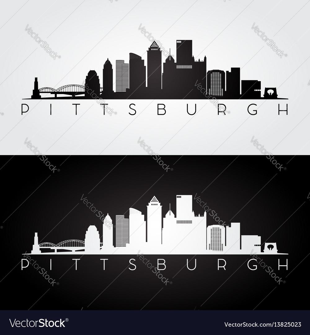 Pittsburgh usa skyline and landmarks silhouette