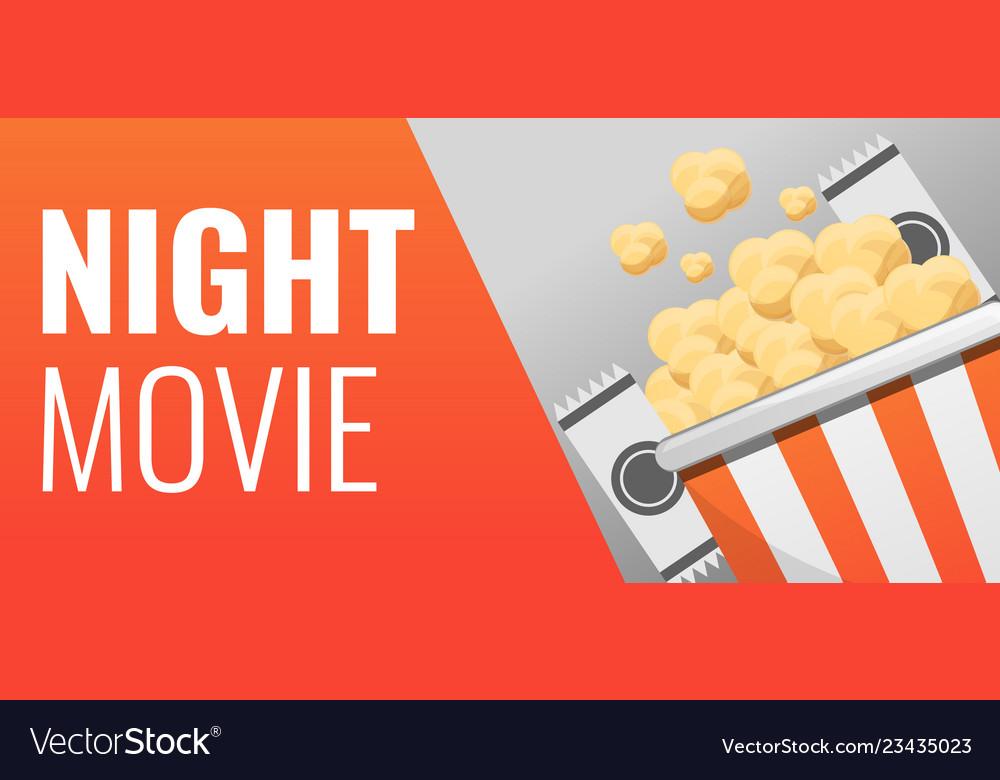 Popcorn night movie concept banner cartoon style