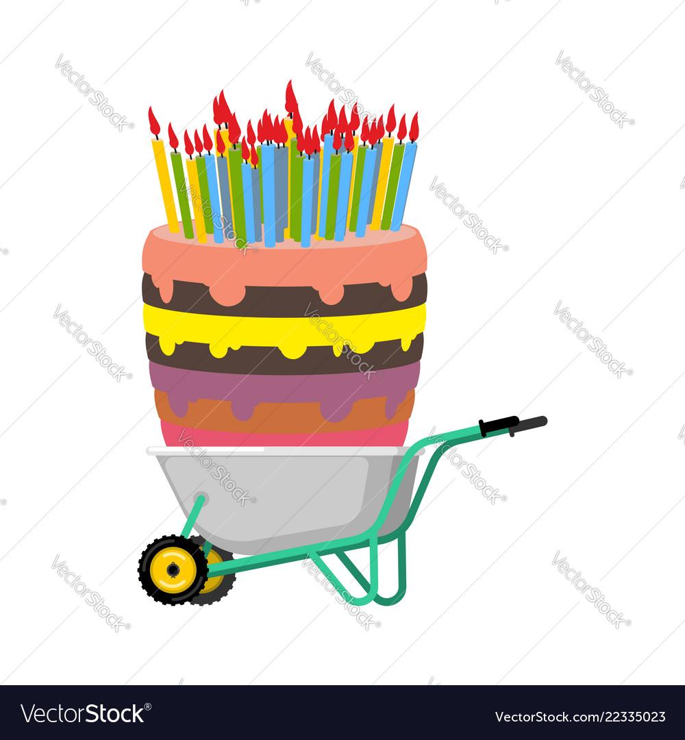 Wheelbarrow and big birthday cake large pie in