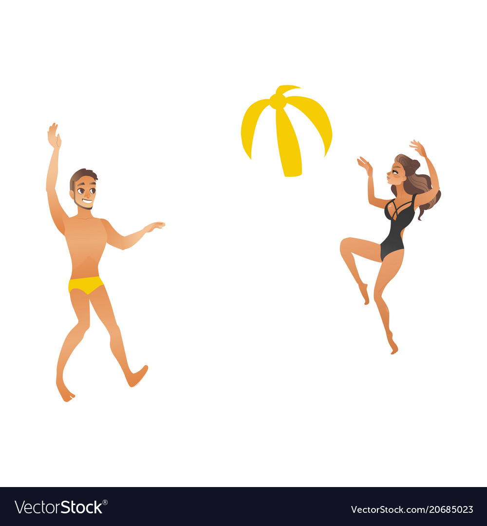 Young beautiful smiling couple in swimsuits play