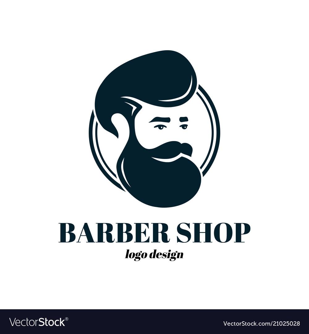 Barber shop template logo design vector image