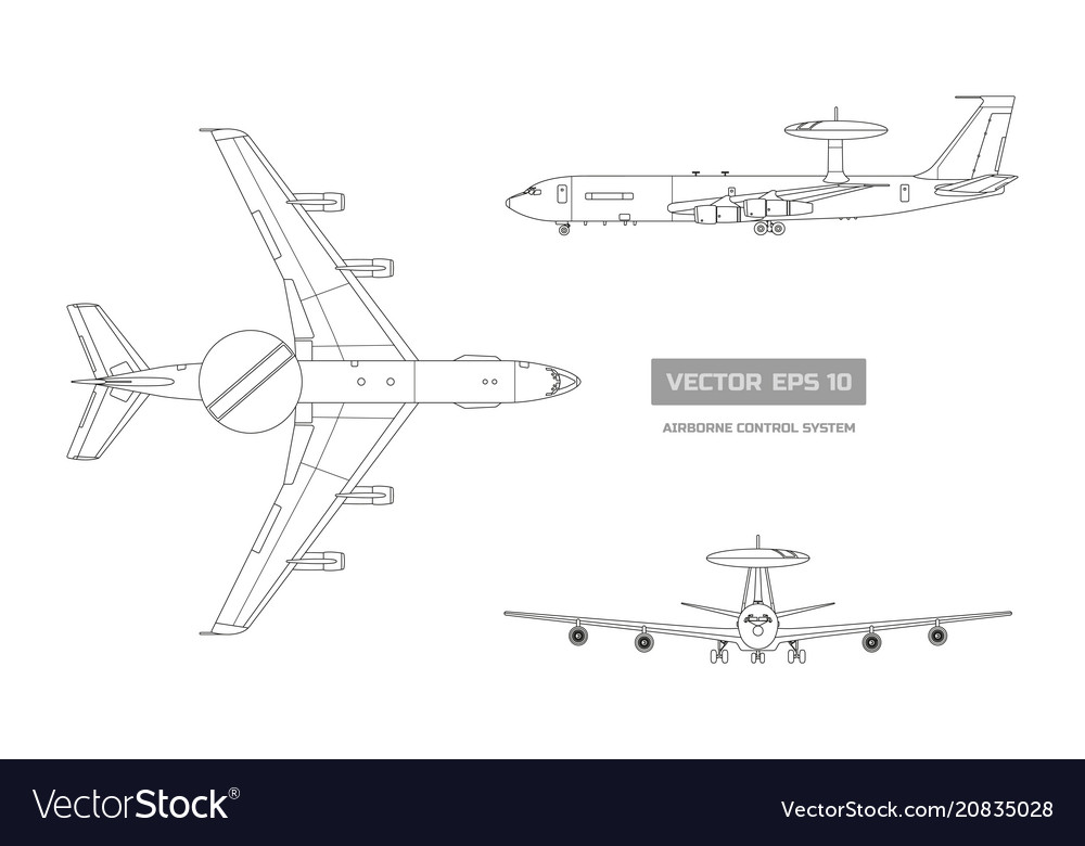 Blueprint military aircraft top front side
