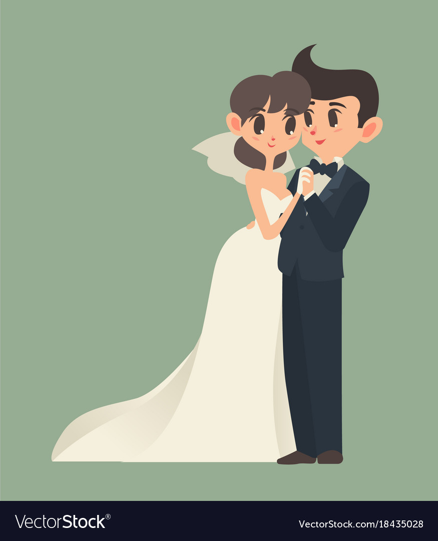 Bride and groom cartoon character