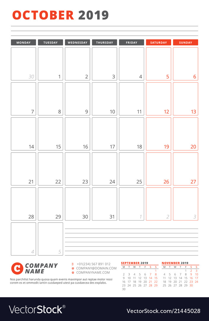 Calendar template for october 2019 business vector image wajeb Images