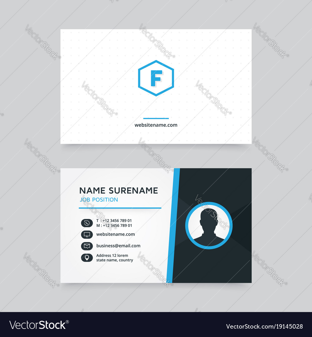 Creative business card design with profile icon vector image reheart Choice Image