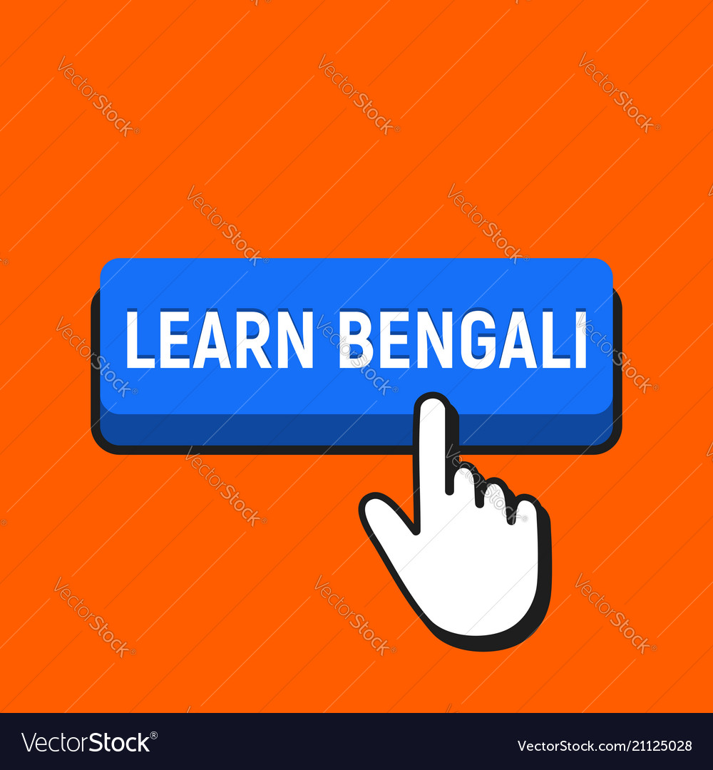 Hand mouse cursor clicks the learn bengali button