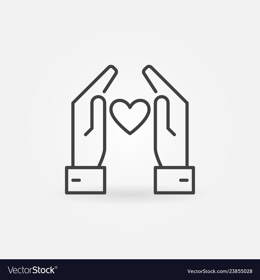 Hands with heart icon or logo element in
