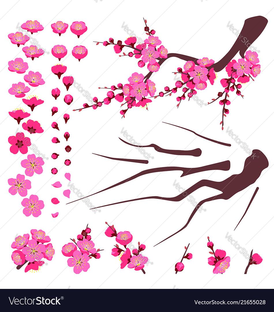 Plum blossom elements set