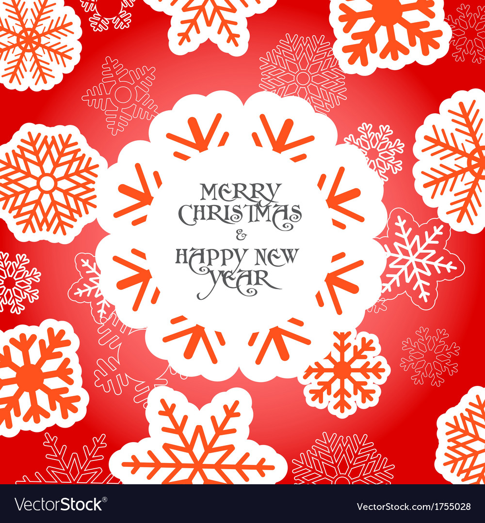 Red Christmas greeting card with snowflakes vector image