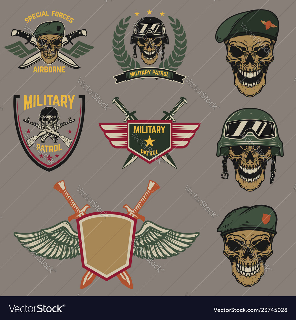 Set of military emblems paratrooper skull with