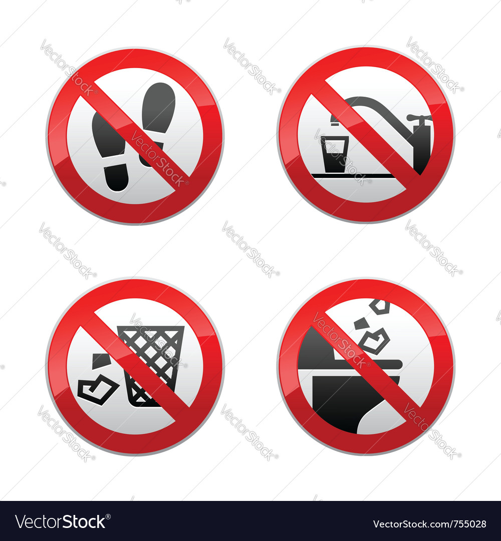 Set prohibited signs - wc vector image
