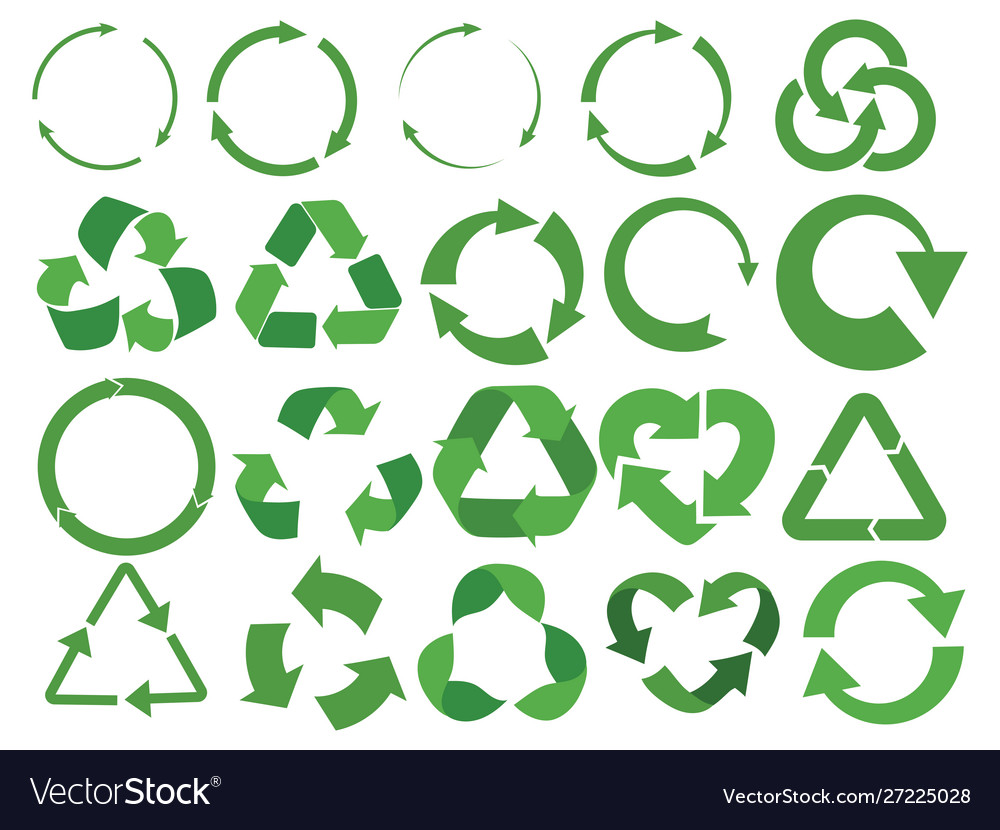 Set recycling signs with arrows collection of