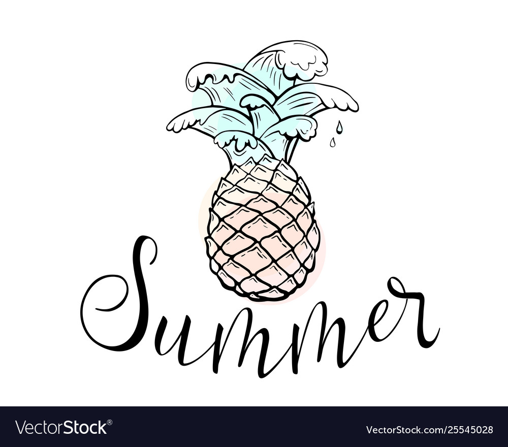 Summer pineapple with sea water waves and text