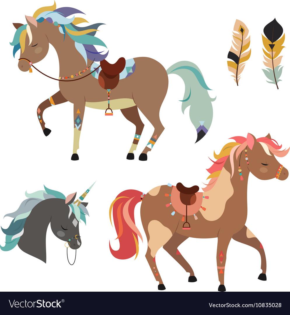 Horse tribal. Horses clipart