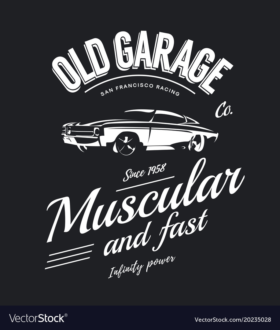 Vintage Muscle Car Logo Royalty Free Vector Image