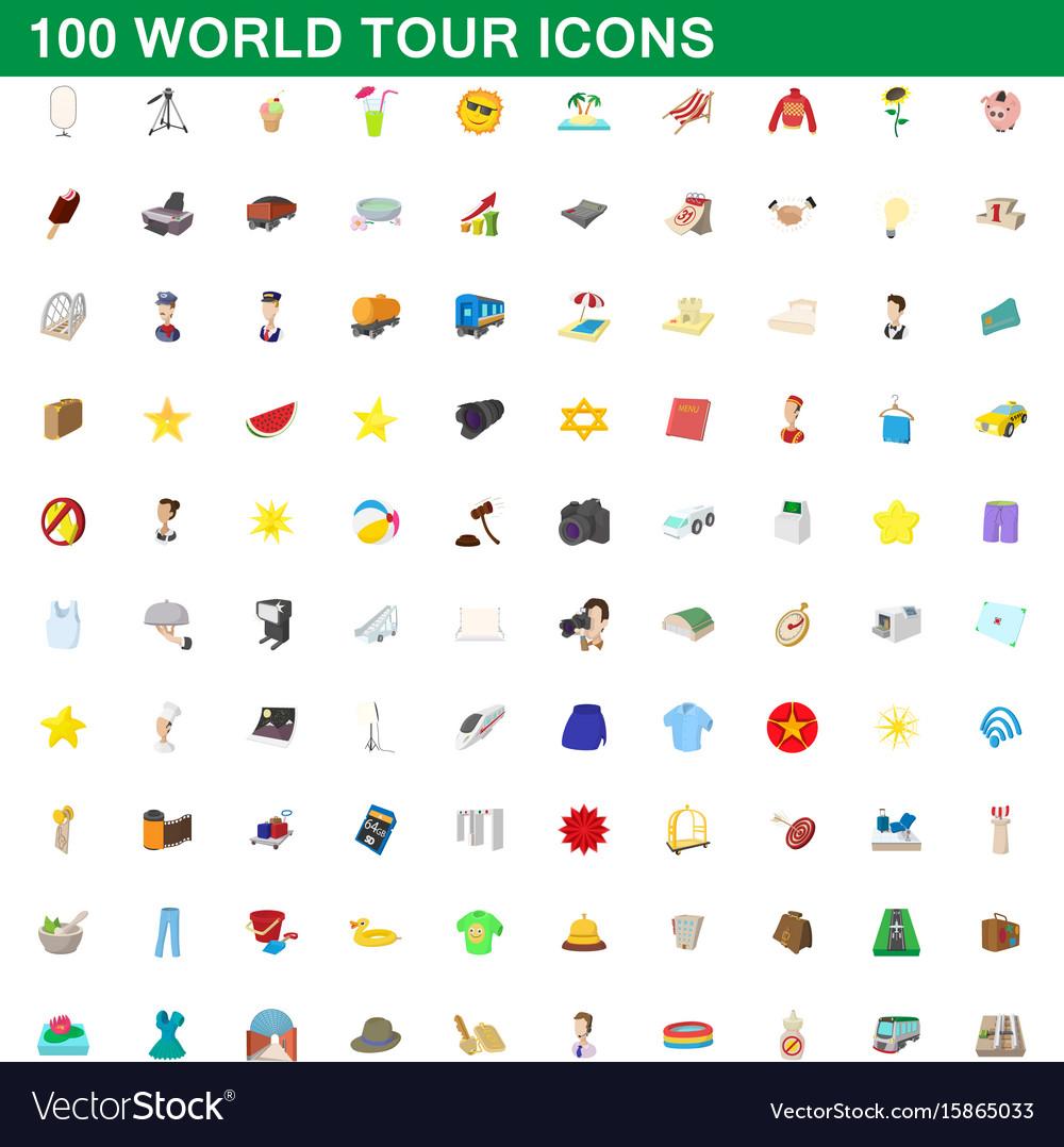 100 world tour icons set cartoon style