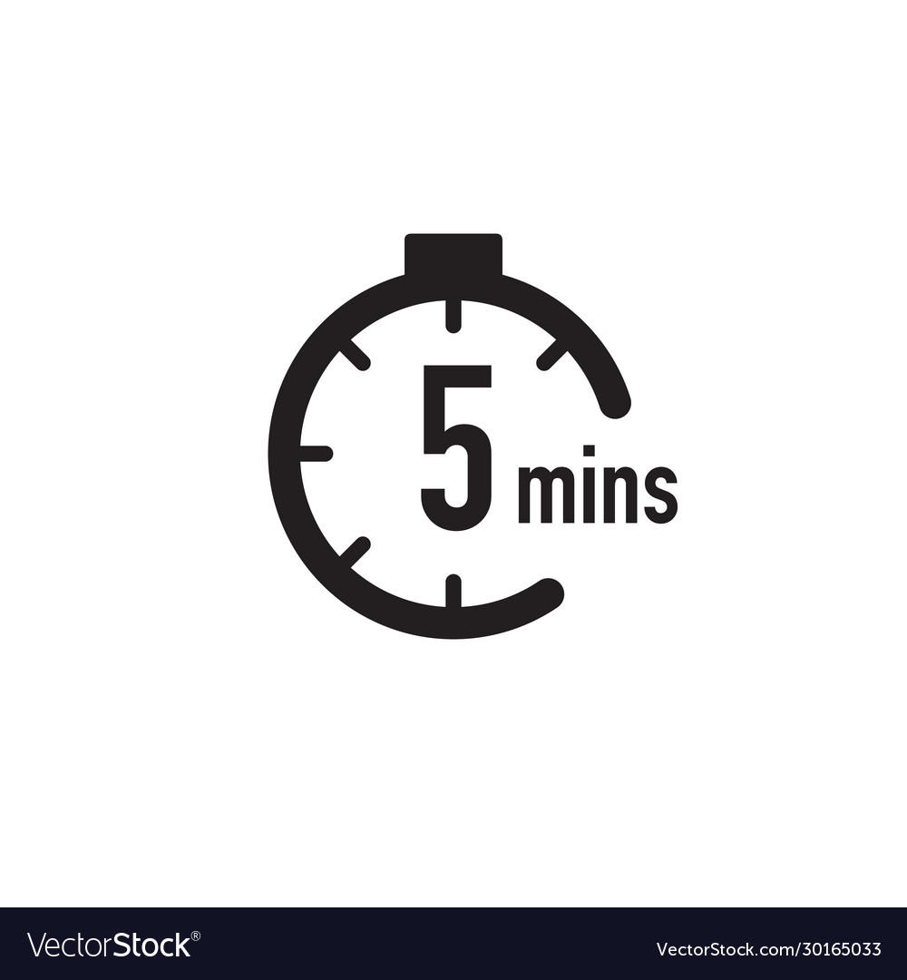 5 Minutes Timer Stopwatch Or Countdown Icon Time Vector Image Set stopwatch for 5 minutes