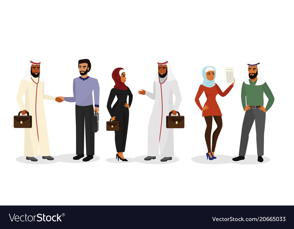 Cartoon arab men and women