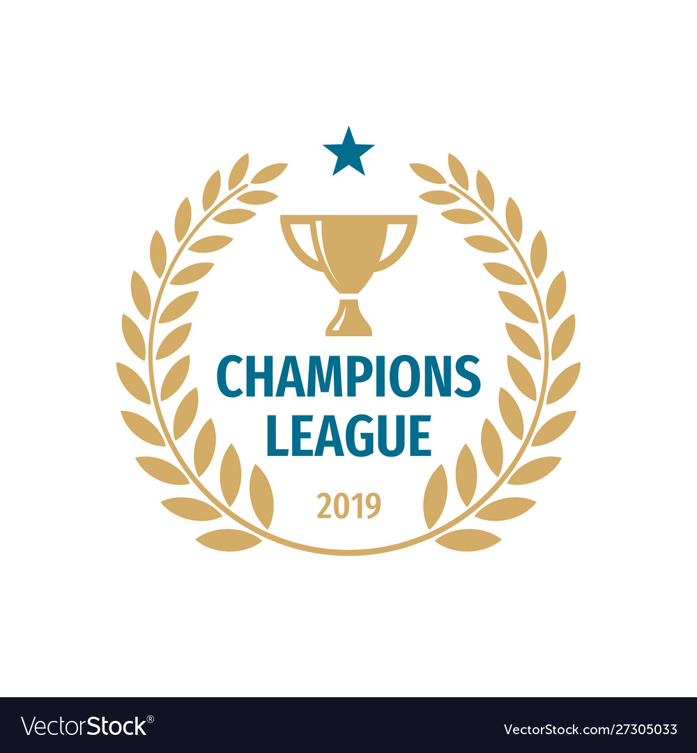 Champions league badge logo design gold cup icon