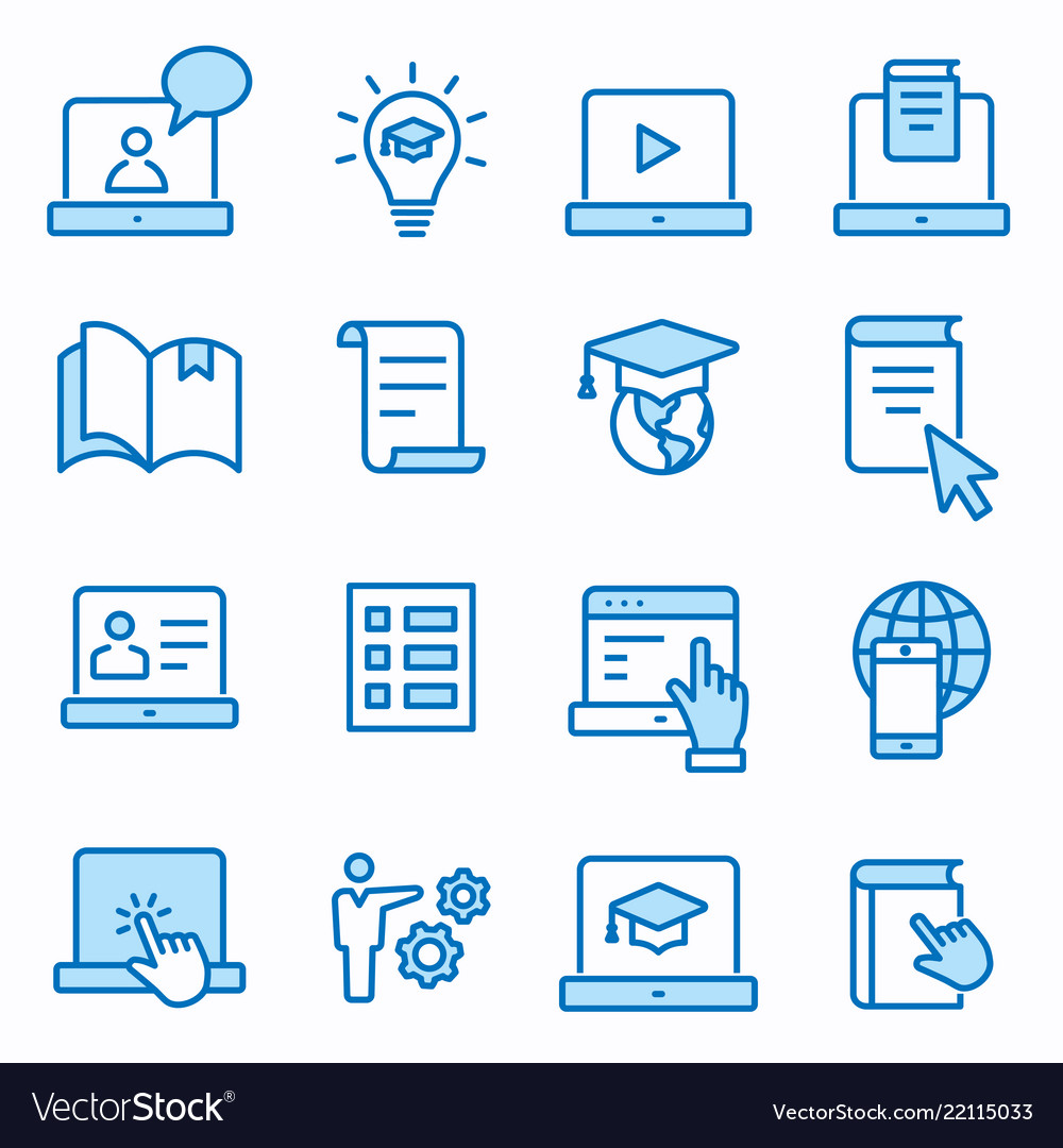 E-learning distance education icons set editable